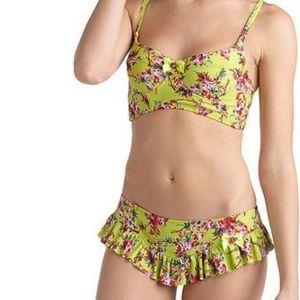 Betsey Johnson yellow floral ruffle bikini
